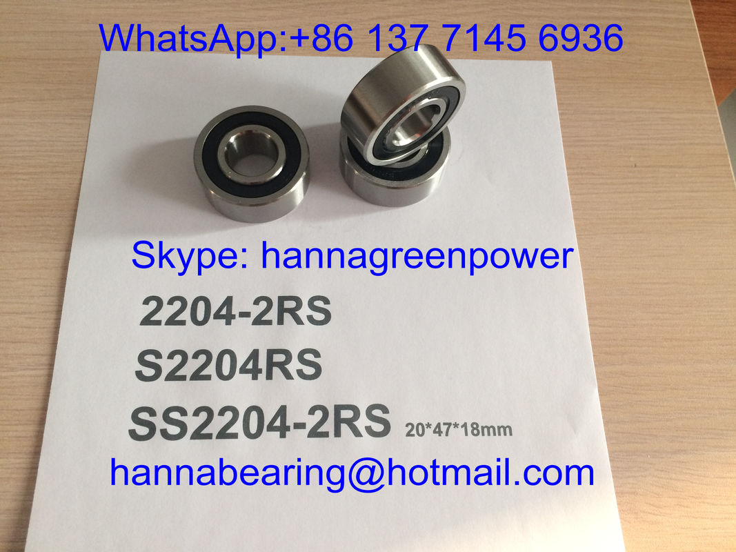 SS2204-2RS / S2204RS / 2204- TVH Stainless Steel Self - aligning Ball Bearing with Rubber Seal , 20*47*18mm